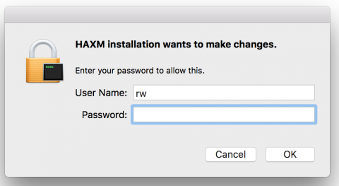 HAXM installation prompt