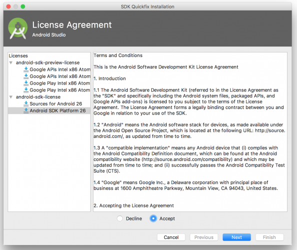 Android Studio license agreement