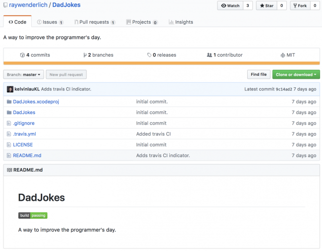 RayWenderlich Dad Jokes Repository on Github
