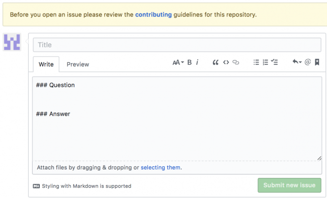 Github New Issue Page