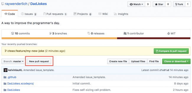 Original DadJokes repository highlighting the New Pull Request button