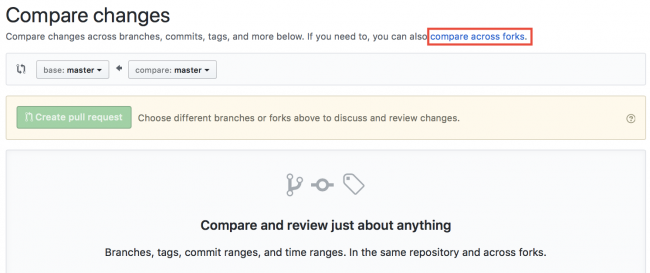 Create Pull Request Github page