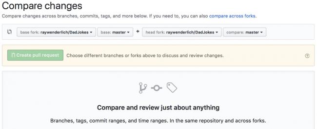 Github compare across forks UI