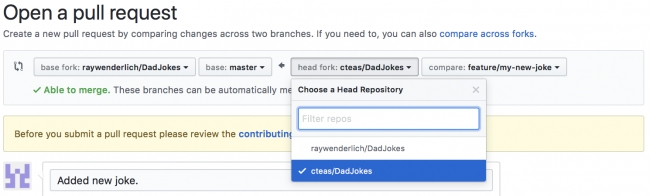 Modifying the forked repository option on Github