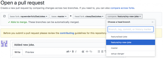Modifying the faked repository branch with the changes on Github