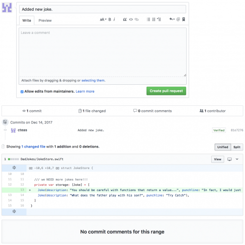 Pull Request creation page Github