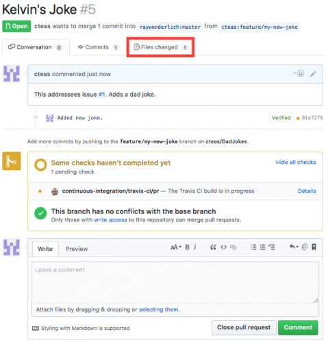 Viewing a pull requests files changed tab on Github