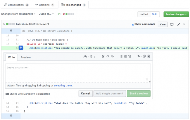 Writing a comment for a specific change within your pull request Github