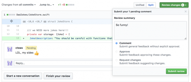 Submit review screen Github
