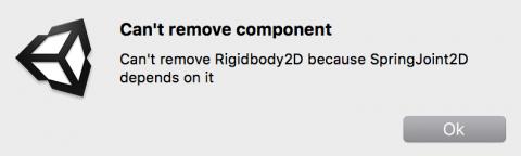 Error message: can't remove Rigidbody 2D