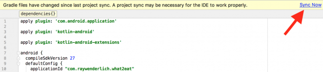 Android studio project sync