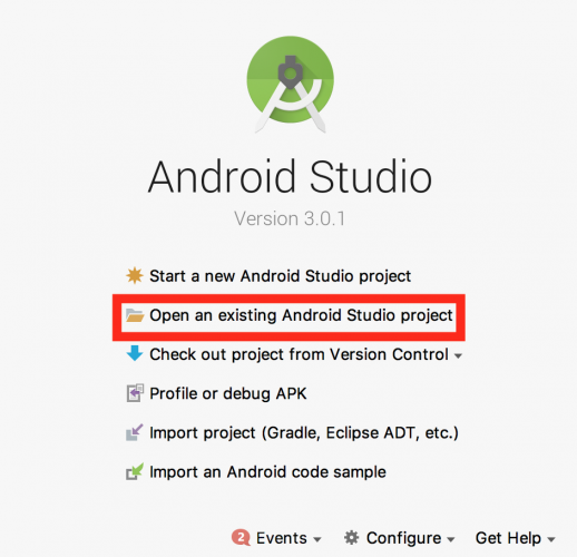 Android studio welcome page
