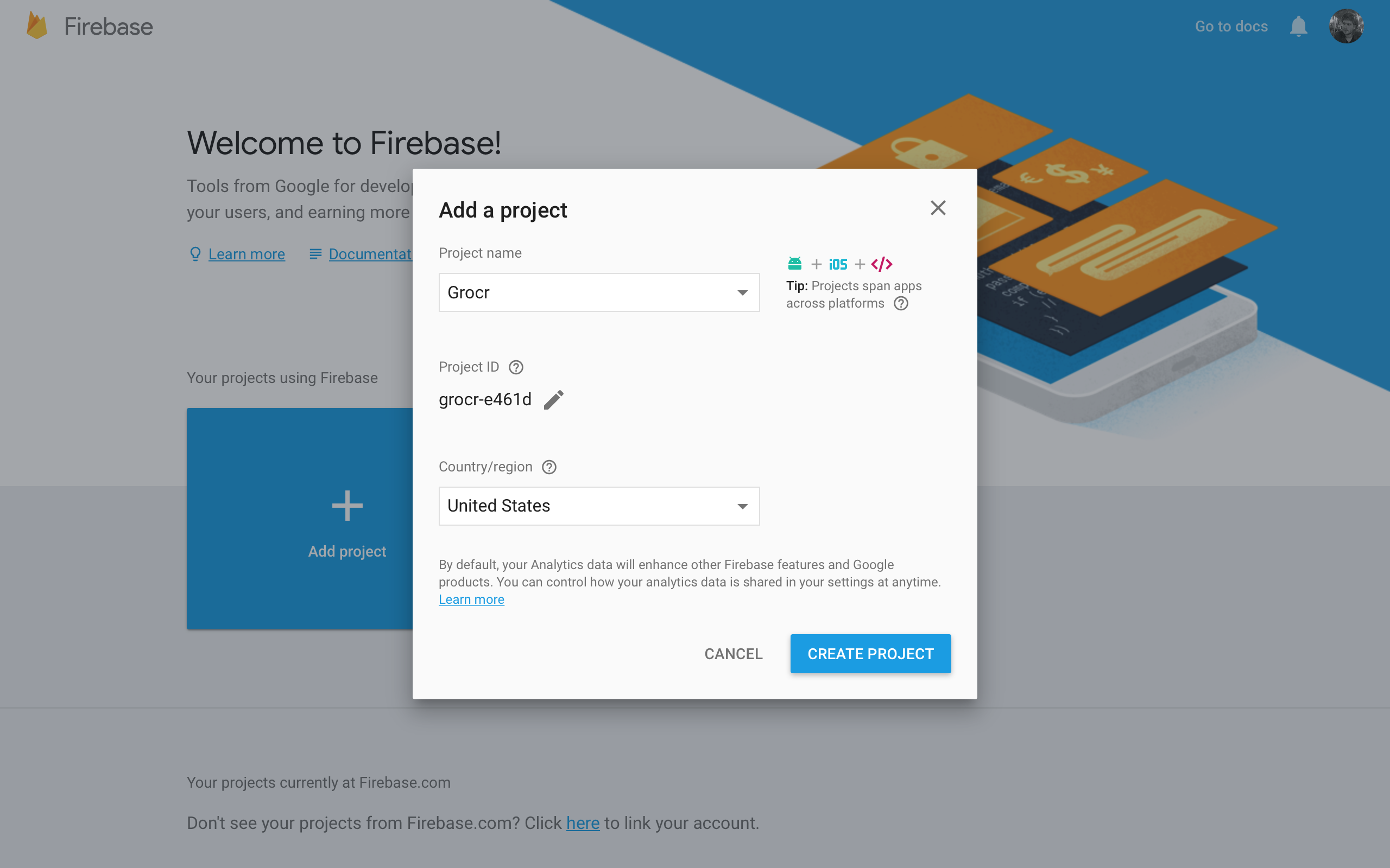 Firebase Tutorial Add a Project