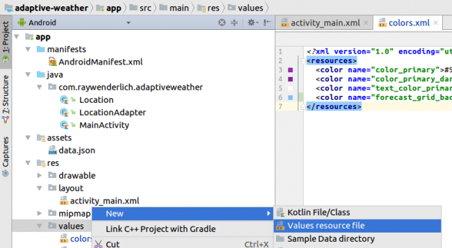 Android Studio New Resource File