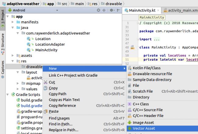 Android Studio Create Vector Asset
