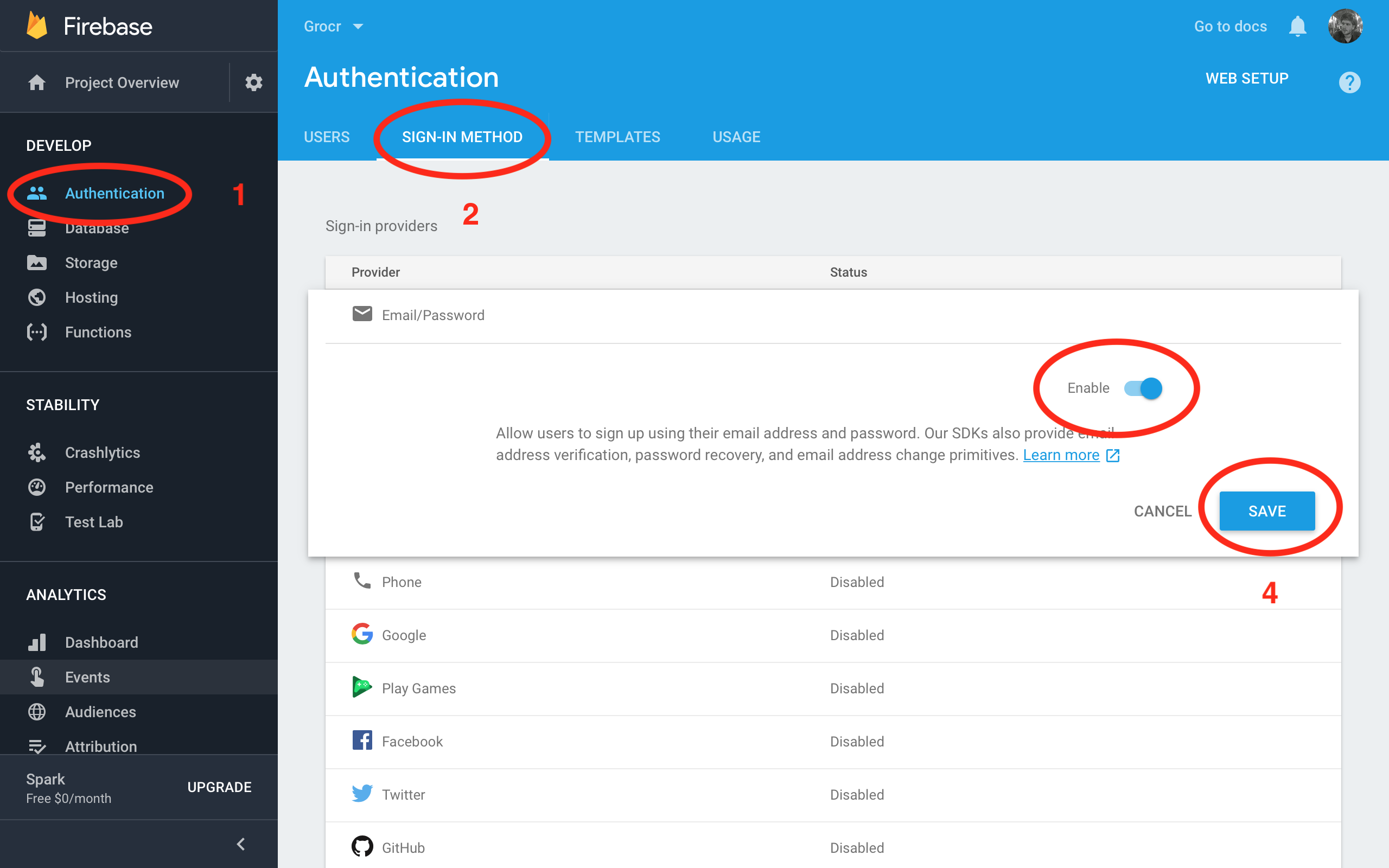 Firebase Tutorial Enable Email Authentication