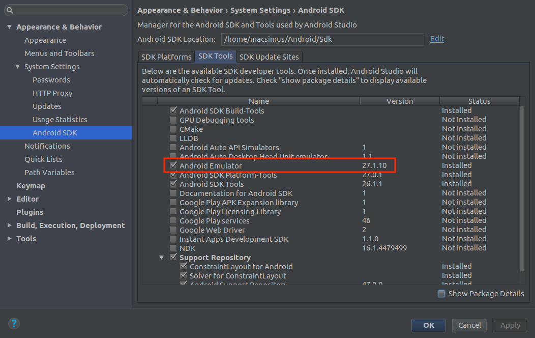 android studio 3 android emulator