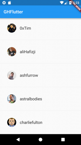 Showing avatars