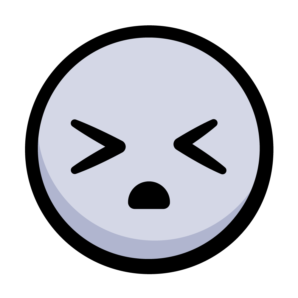 Frustrated emoji-like face