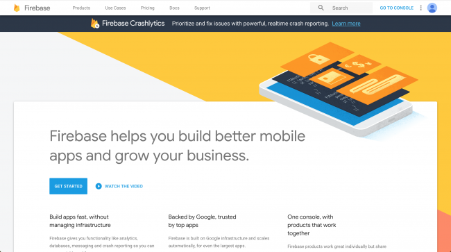 Firebase landing page, with an overview of the site and services
