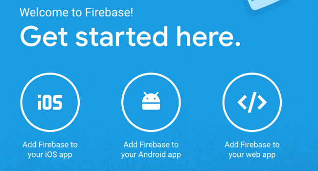 Firebase dashboard with three options, adding an iOS, Android or a Web app