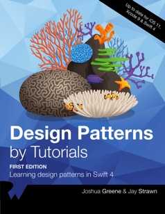 Cover Art for Design Patterns by Tutorials: Coral reef on a blue background