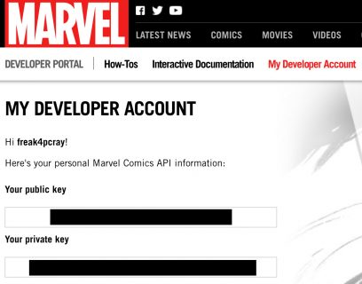Marvel API Keys