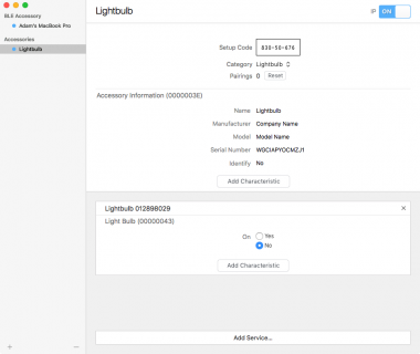 HomeKit Simulator displaying a configured lightbulb