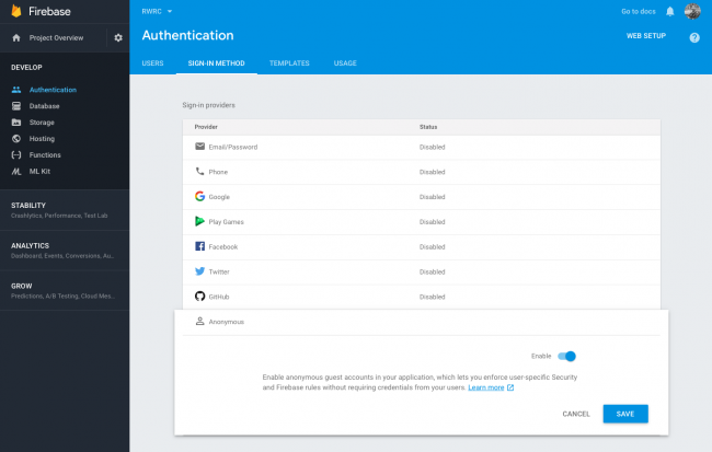 Firebase Auth Console
