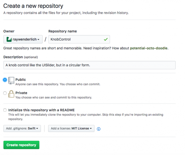 Create a new GitHub repository  - how to create a framework ios first create framework new repo 1 596x500 - Creating a Framework for iOS