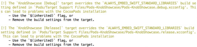 CocoaPods warnings