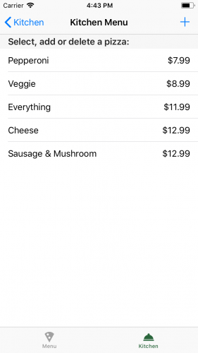 Couchbase Tutorial - Kitchen menu edited build and run