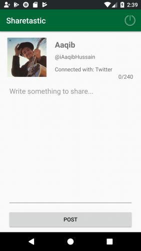 Twitter share screen