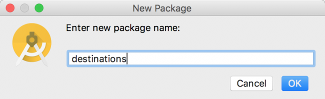 New package dialog