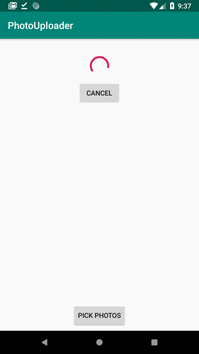 Showing progress bar and cancel button