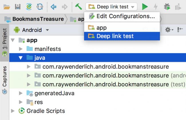 Select deep link run config