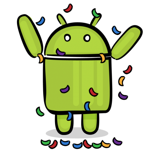 Android celebrating with confetti