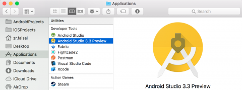 Launch Android Studio 3.3 Preview