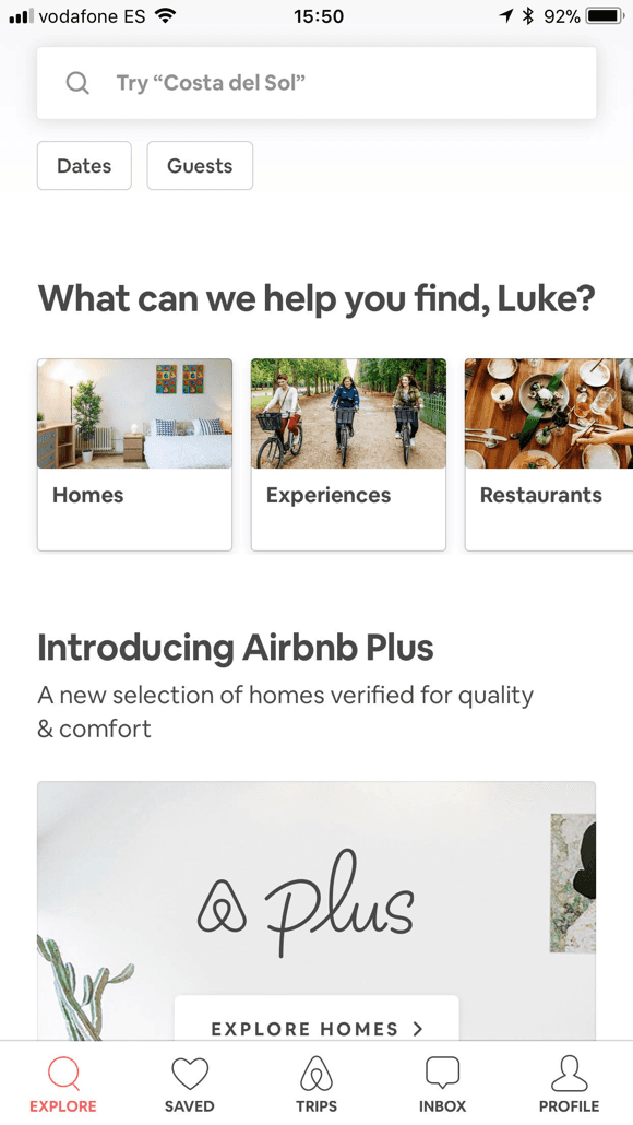 Airbnb home screen