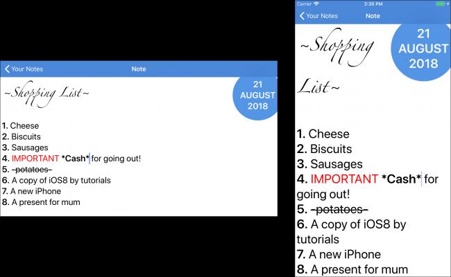Text sizes comparison