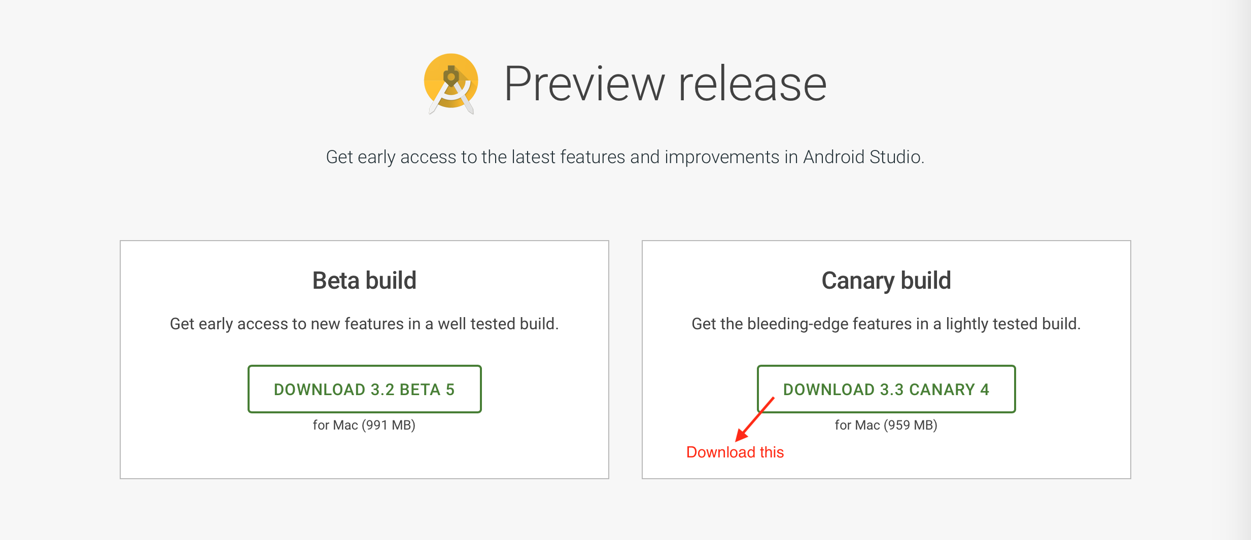 Download Android Studio Canary