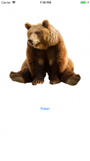 Screenshot of app with image of bear and Poke button