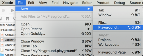 Menu File ▸ New ▸ Playground