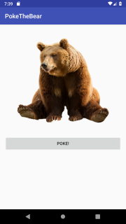 Android screen with bear and poke button