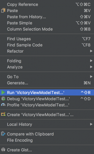 "Drop down with ""Run VictoryViewModelTest..."" highlighted"