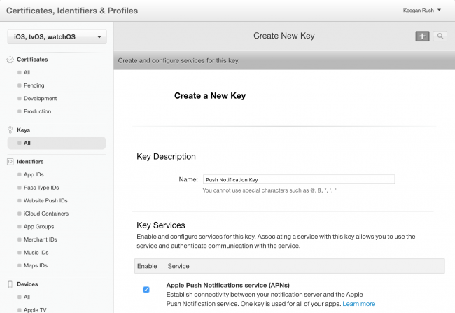 Create New Key