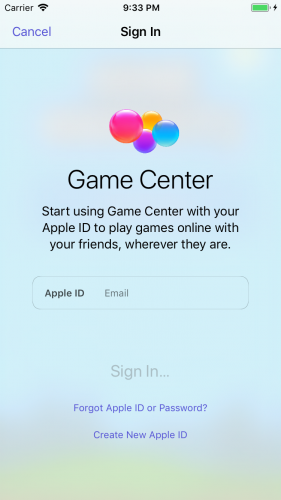 The Sign In view for Game Center.