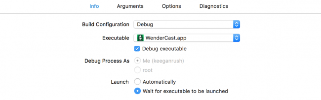 Select 'Wait for executable to be launched'