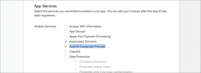 Apple App Services options