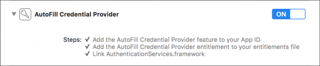 Xcode: Autofill Credential Provider set to On